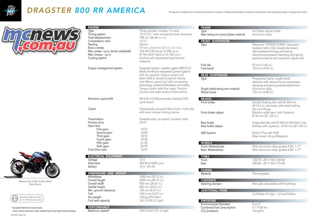MV Agusta Dragster RR America Specifications