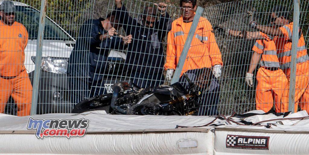 WSBK Test Jerez Nov GeeBee Crash