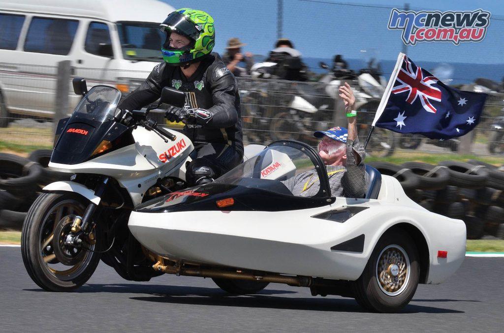 IIC Phillip Island Rob Mott Parade Lap in Katana Side Car Ken Lucas