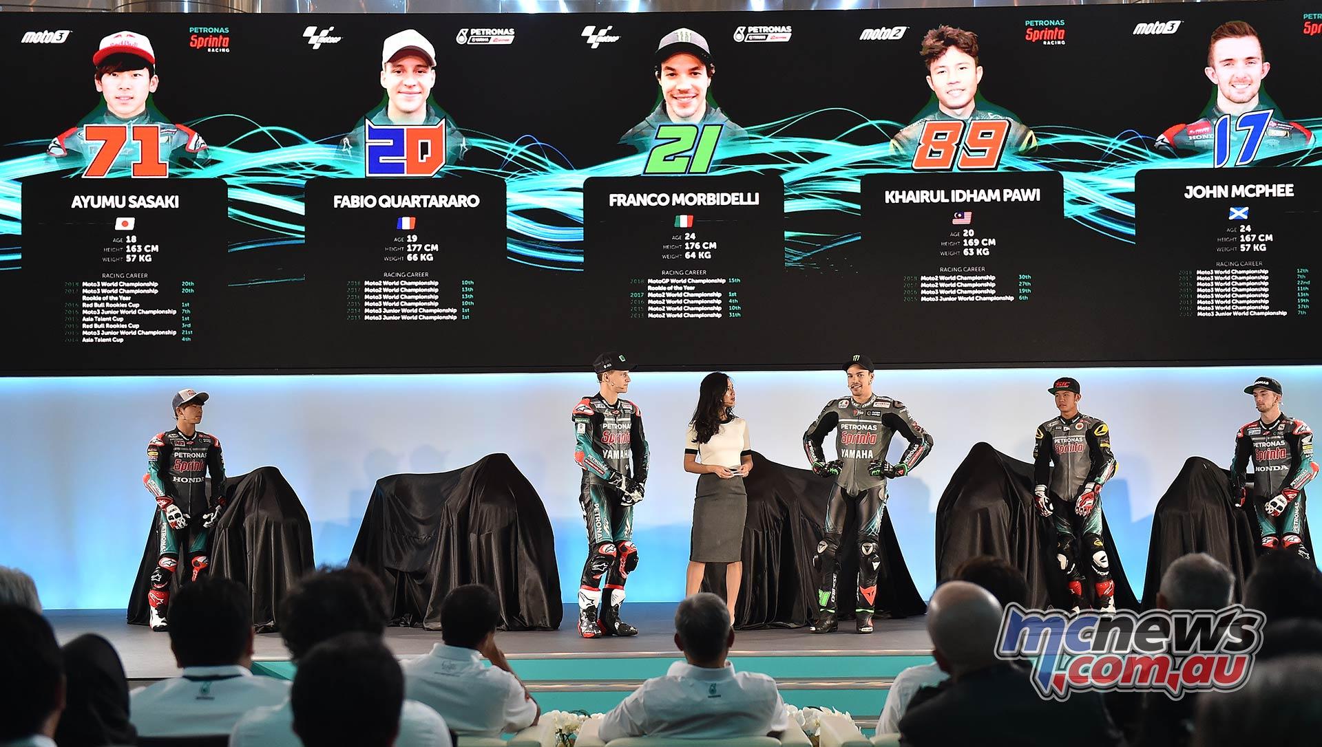 Petronas Launch Ayumu Sasaki Fabio Quartararo Morbidelli Idham Pawi McPhee