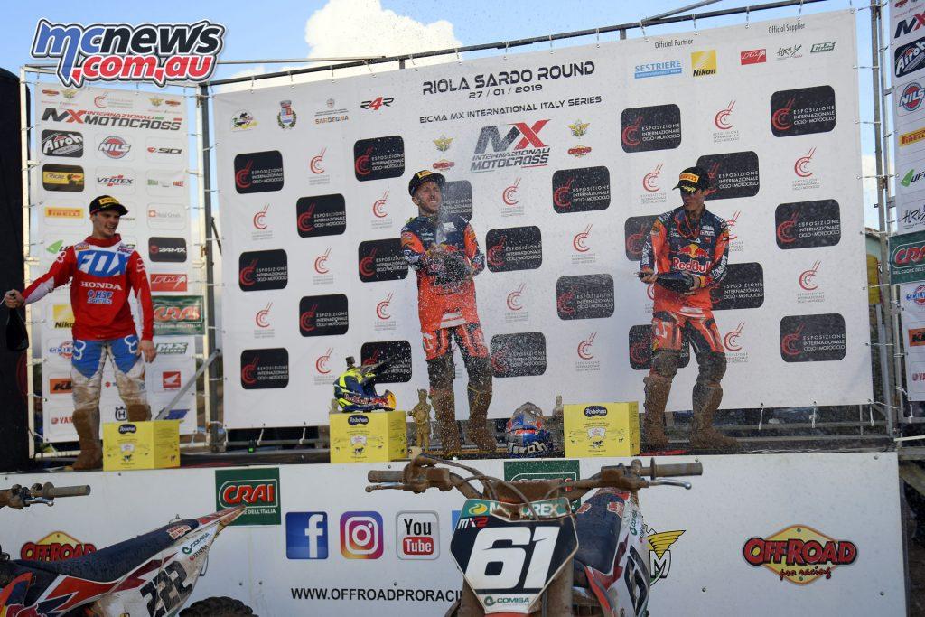 MXGP Rnd Riola Sardo Cairoli podium Supercampione