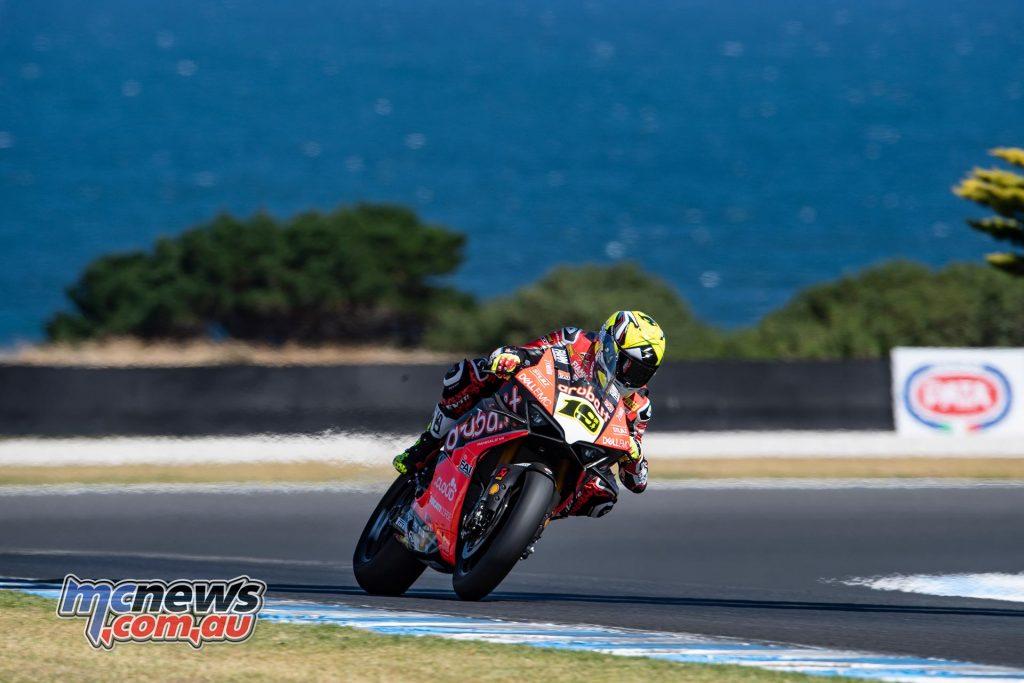WSBK Rnd Race All conquering Alvaro Bautista on the Ducati Panigale VR at Phillip Island