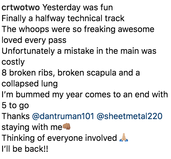 Chad Reed on Instagram Seattle Crash