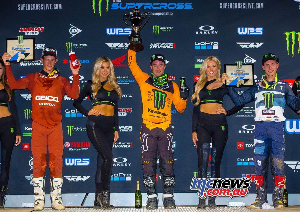 AMA Supercross Rnd Podium Davalos Sexton Cooper JK SX Nashville