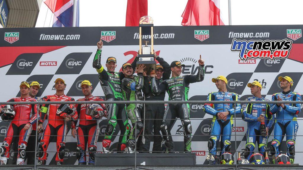 FIM EWC LeMans Hour SRC Kawasaki Win Podium