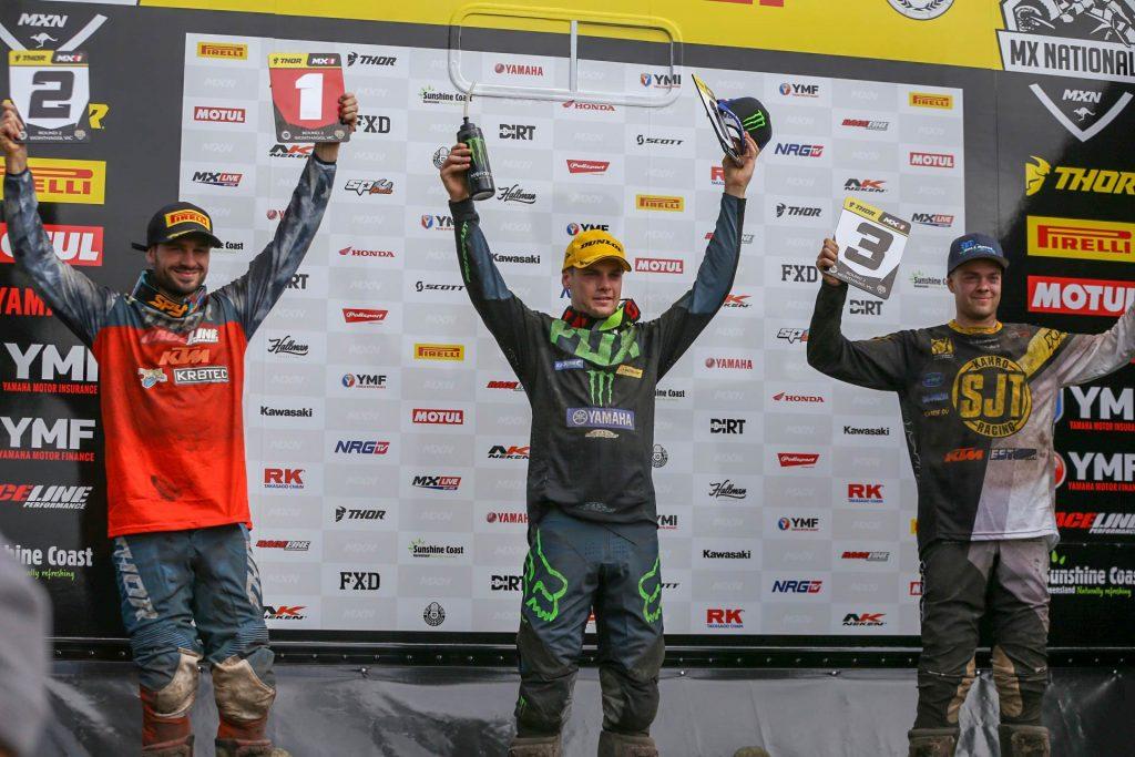 MX Nationals Rnd Wonthaggi MX Podium Luke Clout Hayden Mellross Erki Kahro