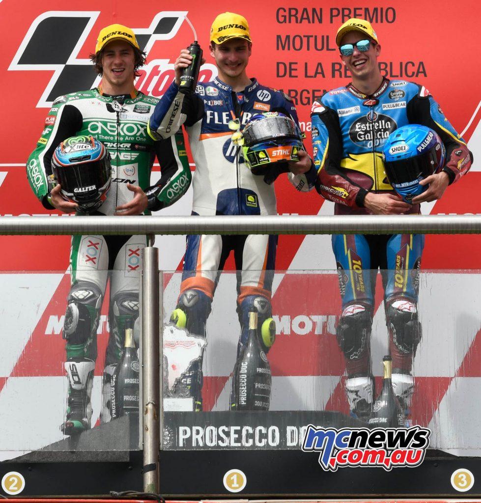 MotoGP Rnd Argentina Moto Podium Gardner Baldassarri Marquez