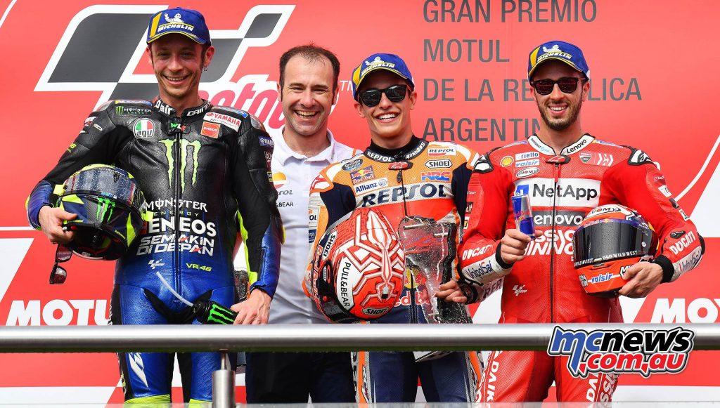 MotoGP Rnd Argentina Podium Marquez Rossi Dovizioso
