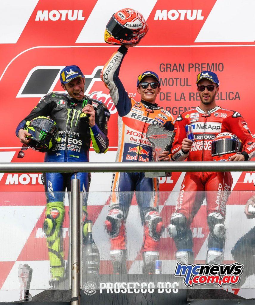 MotoGP Rnd Argentina Podium MotoGP Marquez Rossi Dovizioso