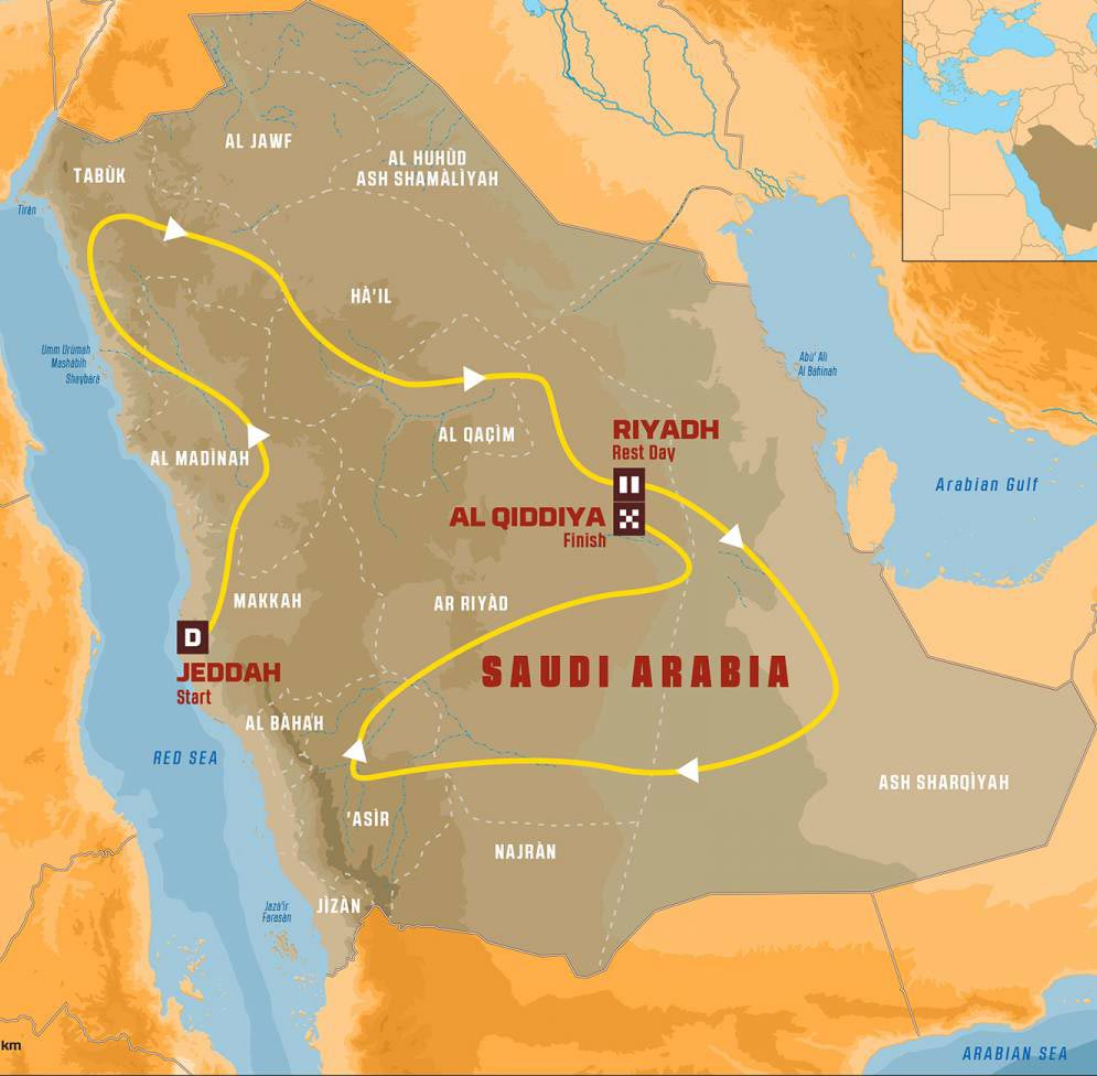 Dakar Saudi Arabia Map