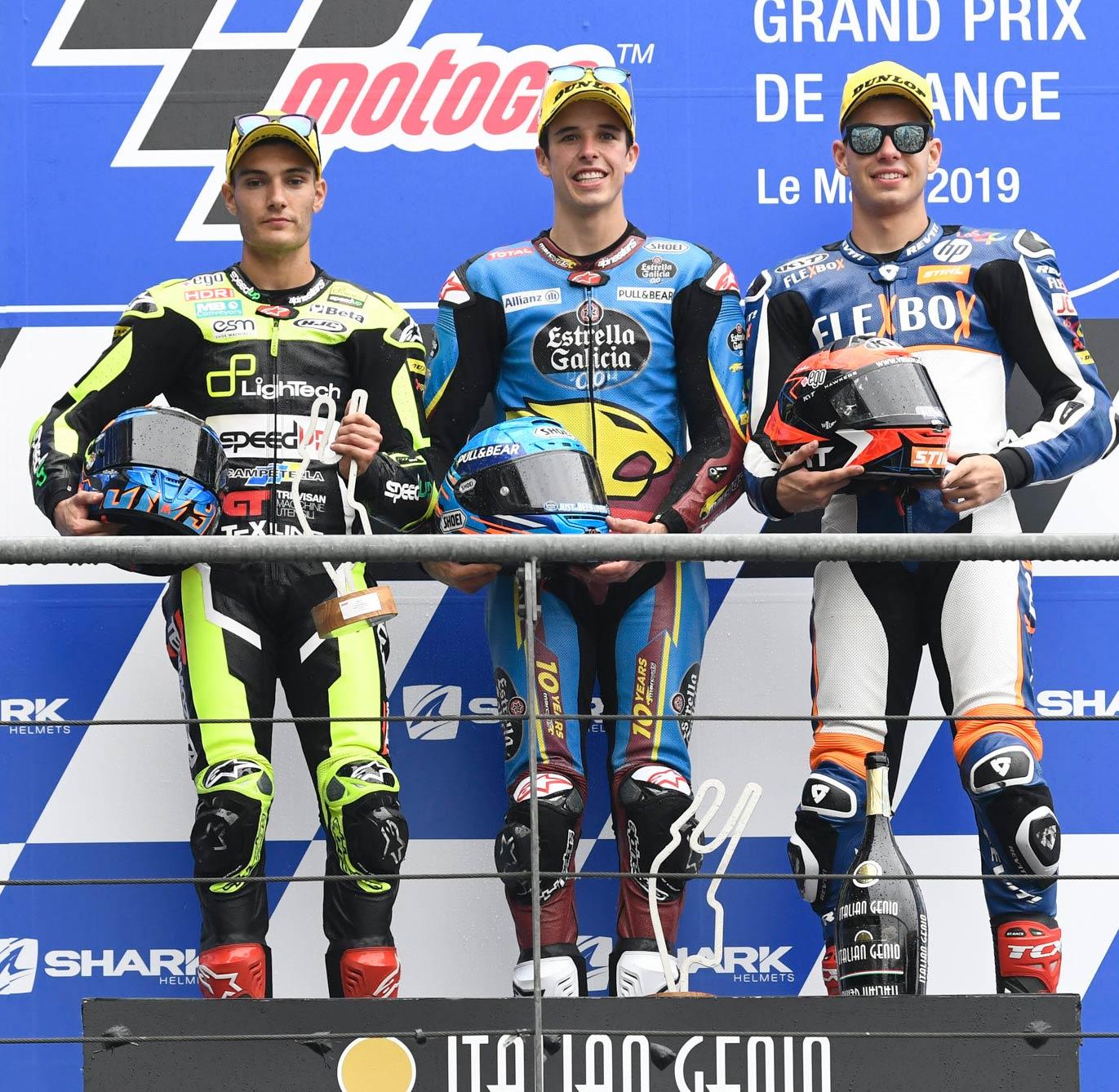 MotoGP Rnd LeMans Moto Podium L R Navarro Marquez Fernandez