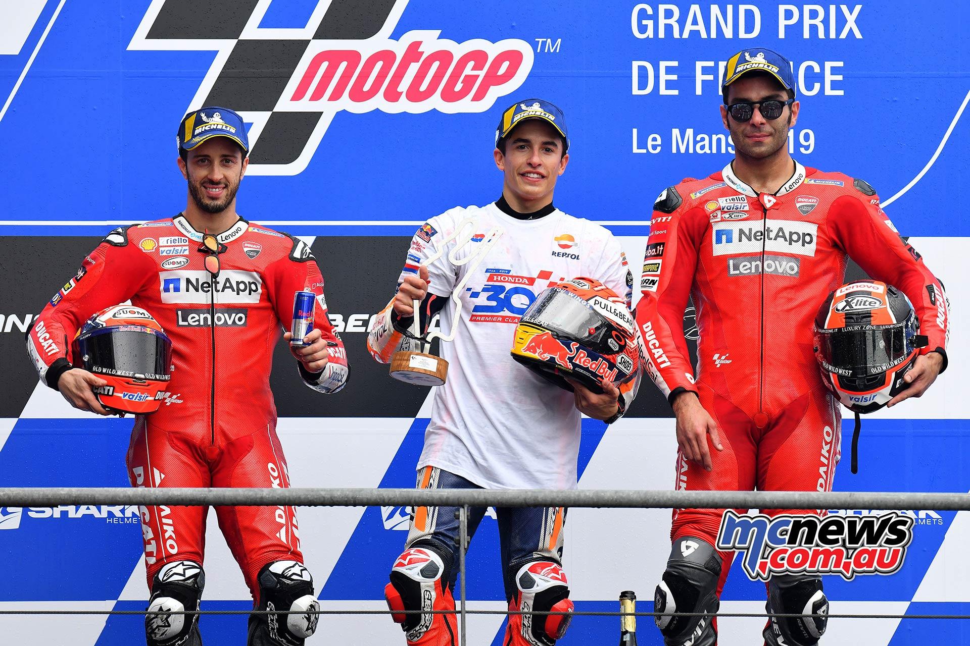 MotoGP Rnd LeMans Podium Marquez Dovizioso Petrucci