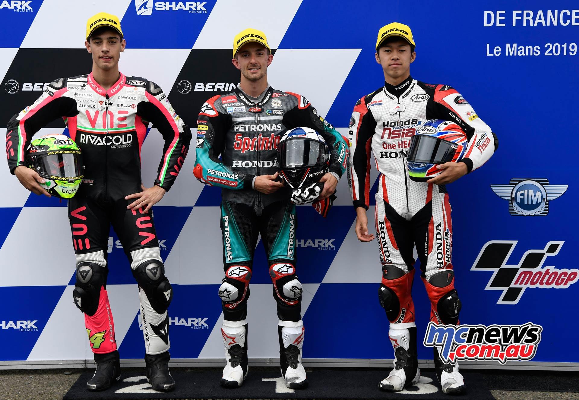 MotoGP Rnd LeMans QP Moto Arbolino McPhee Ogura