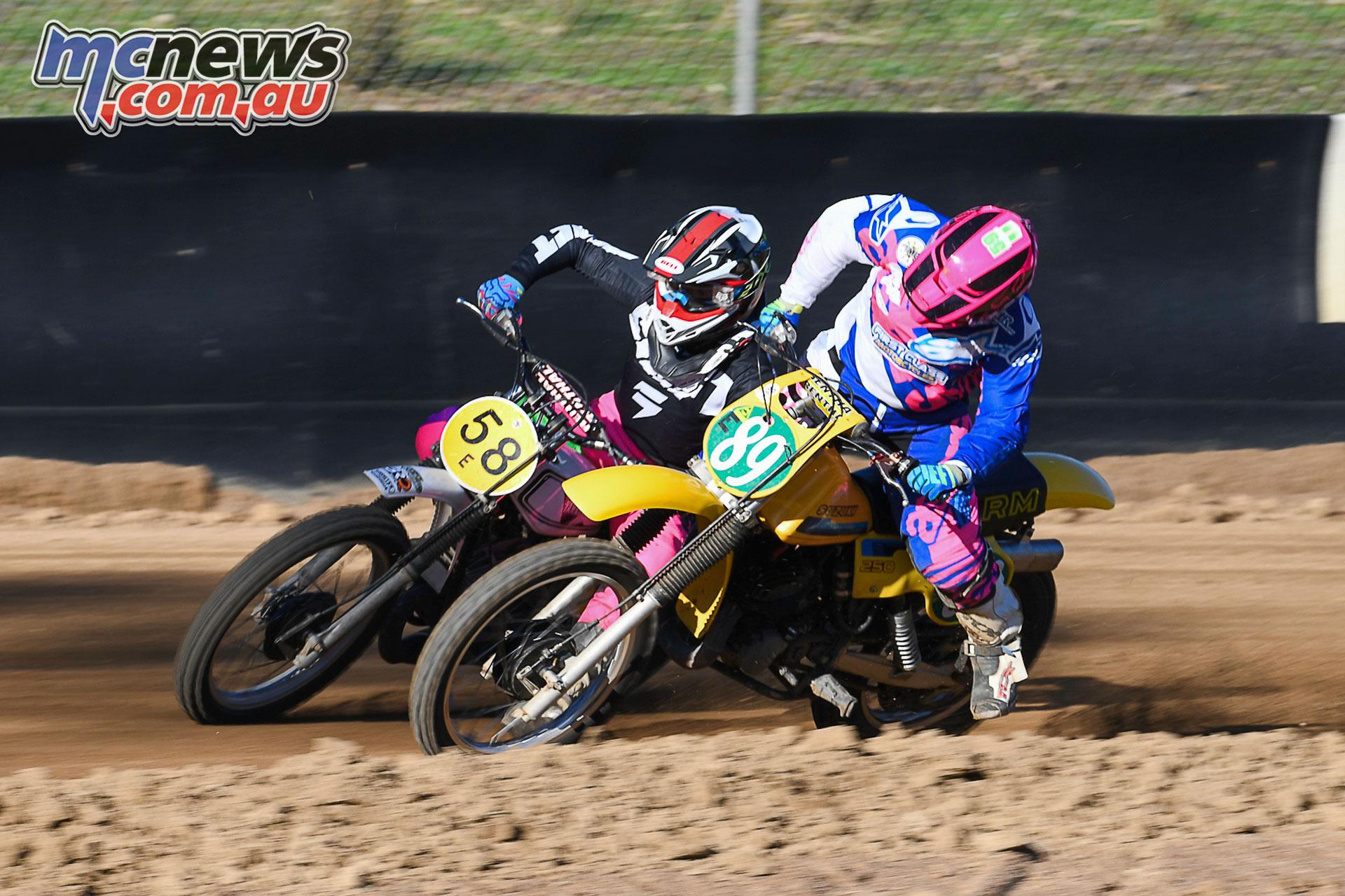 Australian Classic Dirt Track Championship Brooke Lonie battling Tayla Street