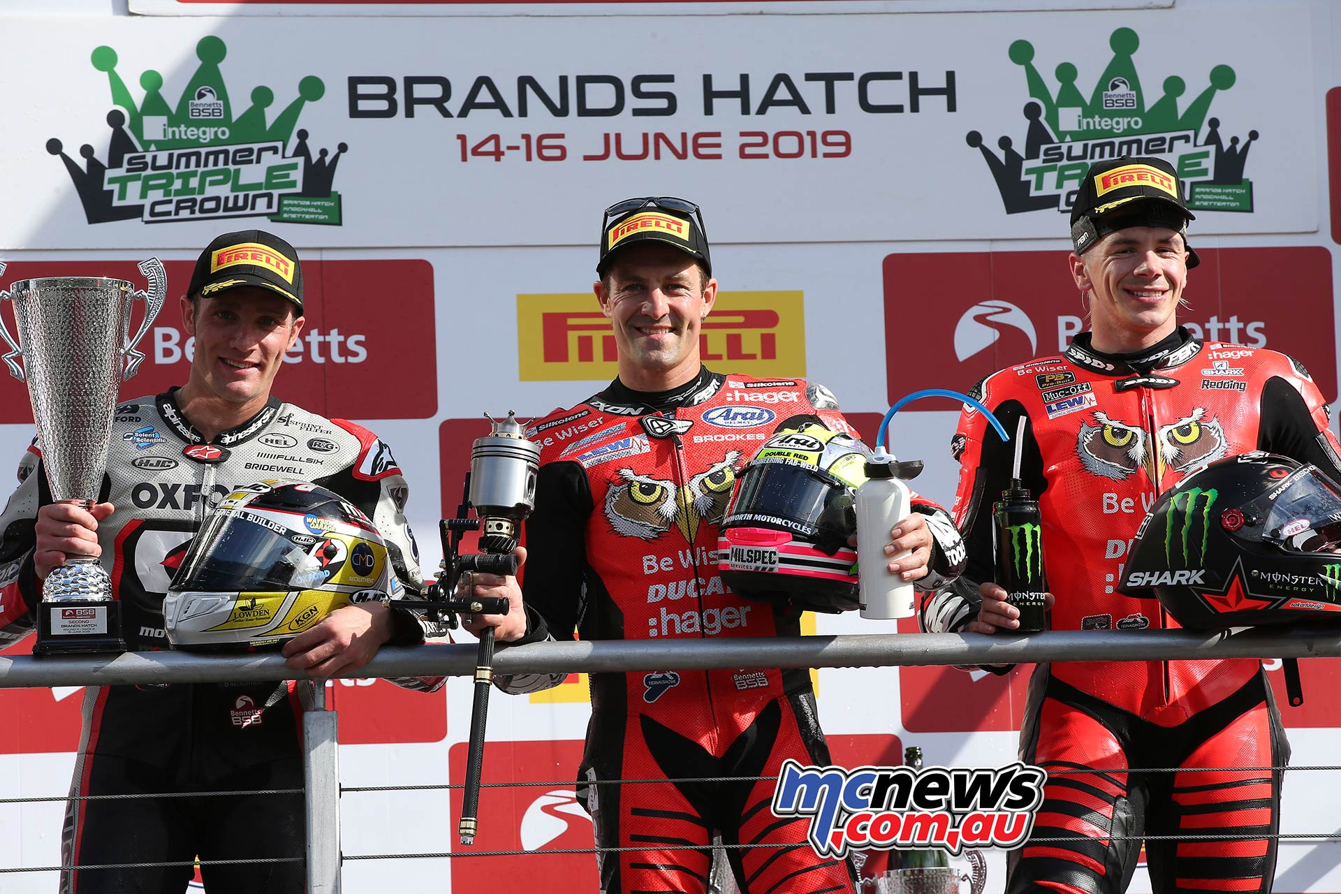 BSB RNd BrandsHatch SBK Race Podium Brookes Bridewell Redding A