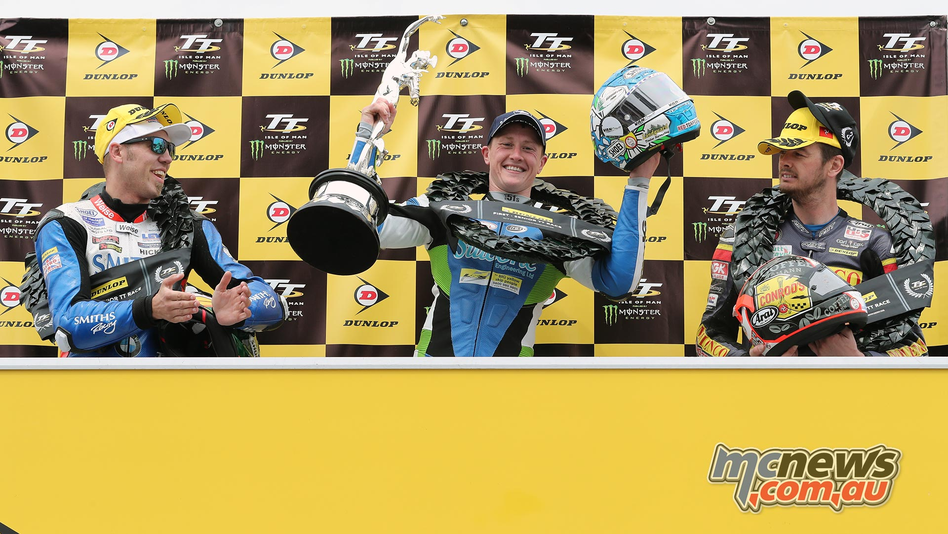 IOMTT Senior Dean Harrison Podium Peter Hickman Conor Cummins