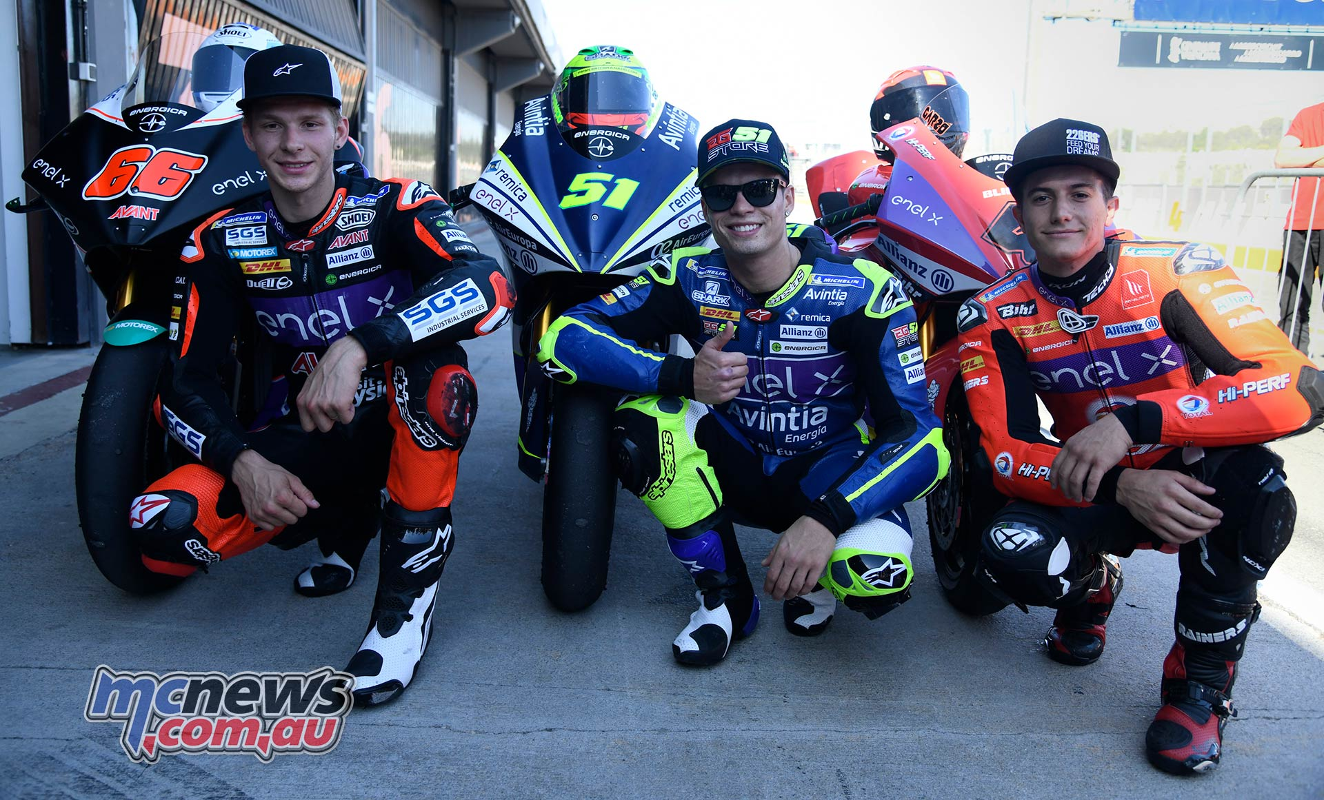 MotoE World Cup test Valencia Final Podium men Niki Tuuli Eric Granado and Hector Garzo