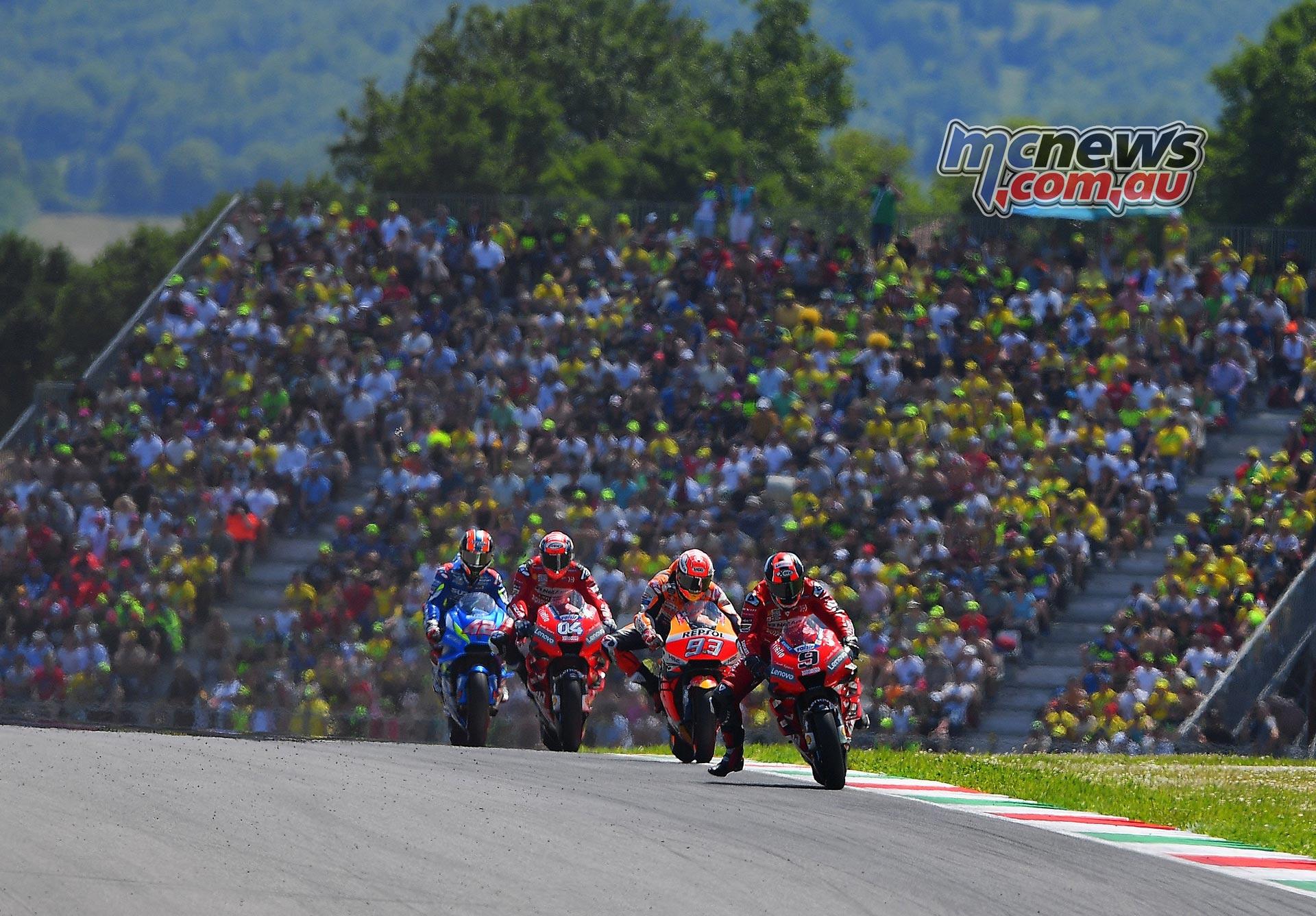 MotoGP Rnd Mugello Race Petrucci Marquez Dovizioso Rins Crowd
