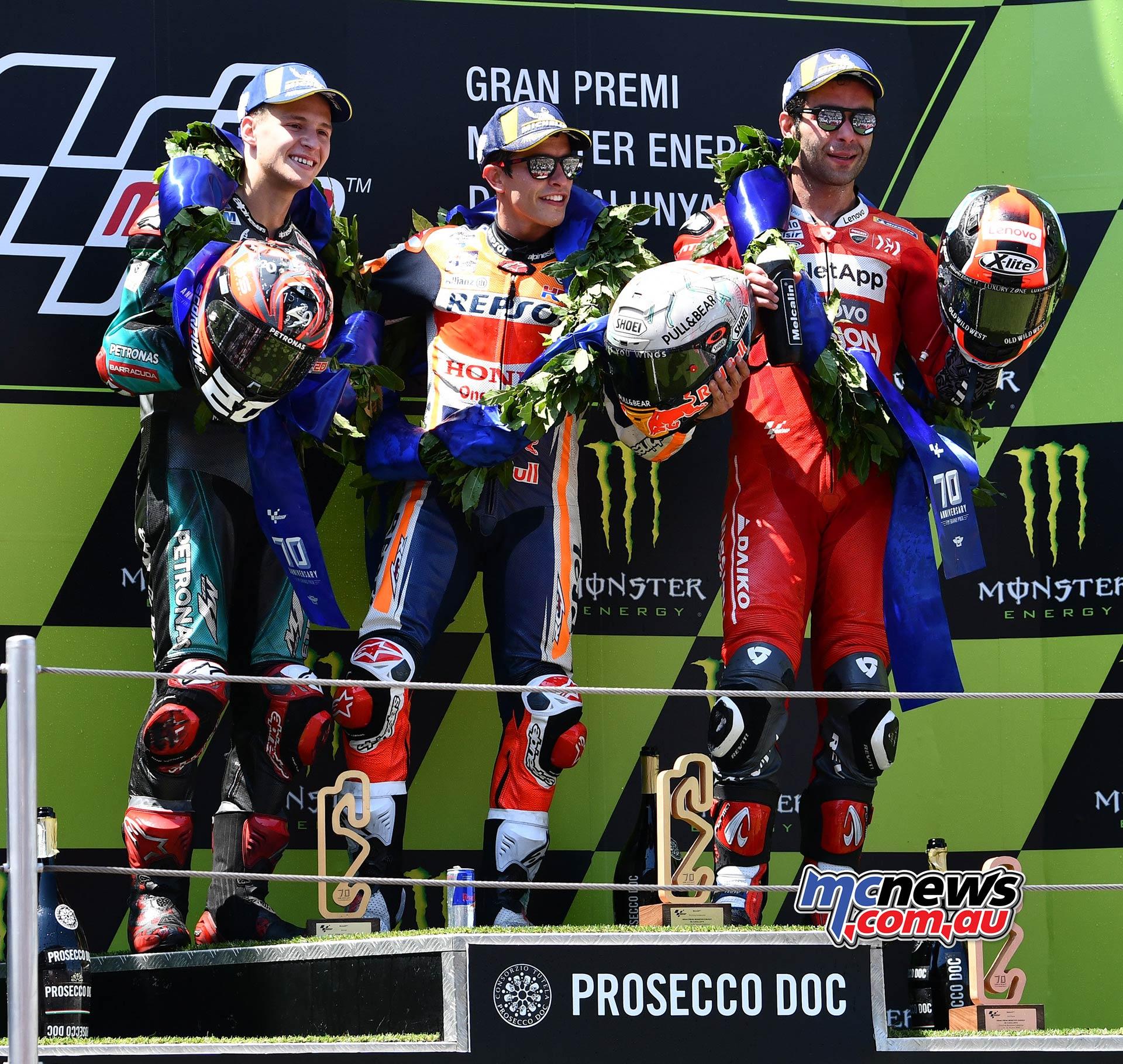 MotoGP Rnd Catalunya Podium Marquez Quartararo Petrucci