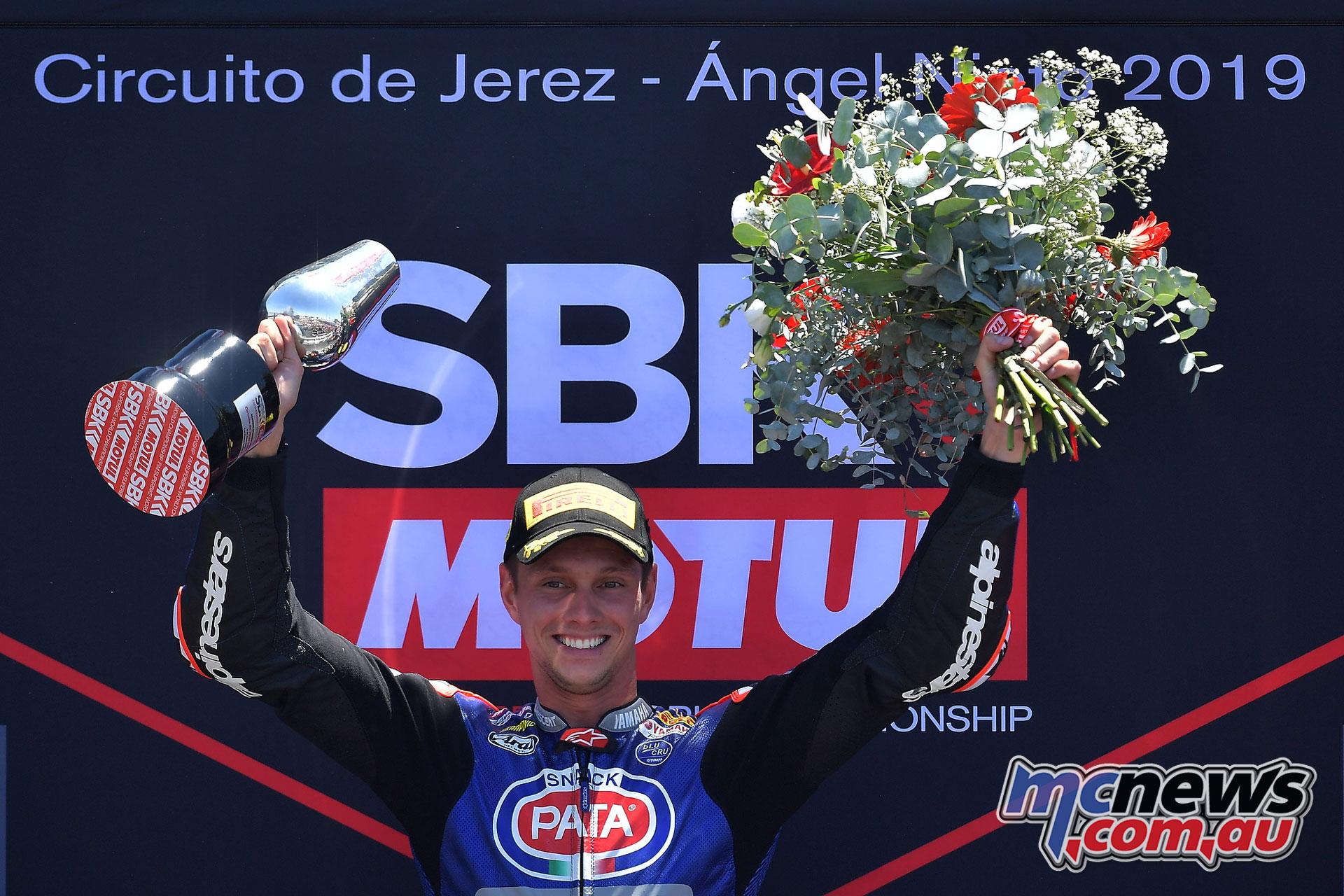 WSBK Rnd Jerez Sun Michael Van der Mark on the podium