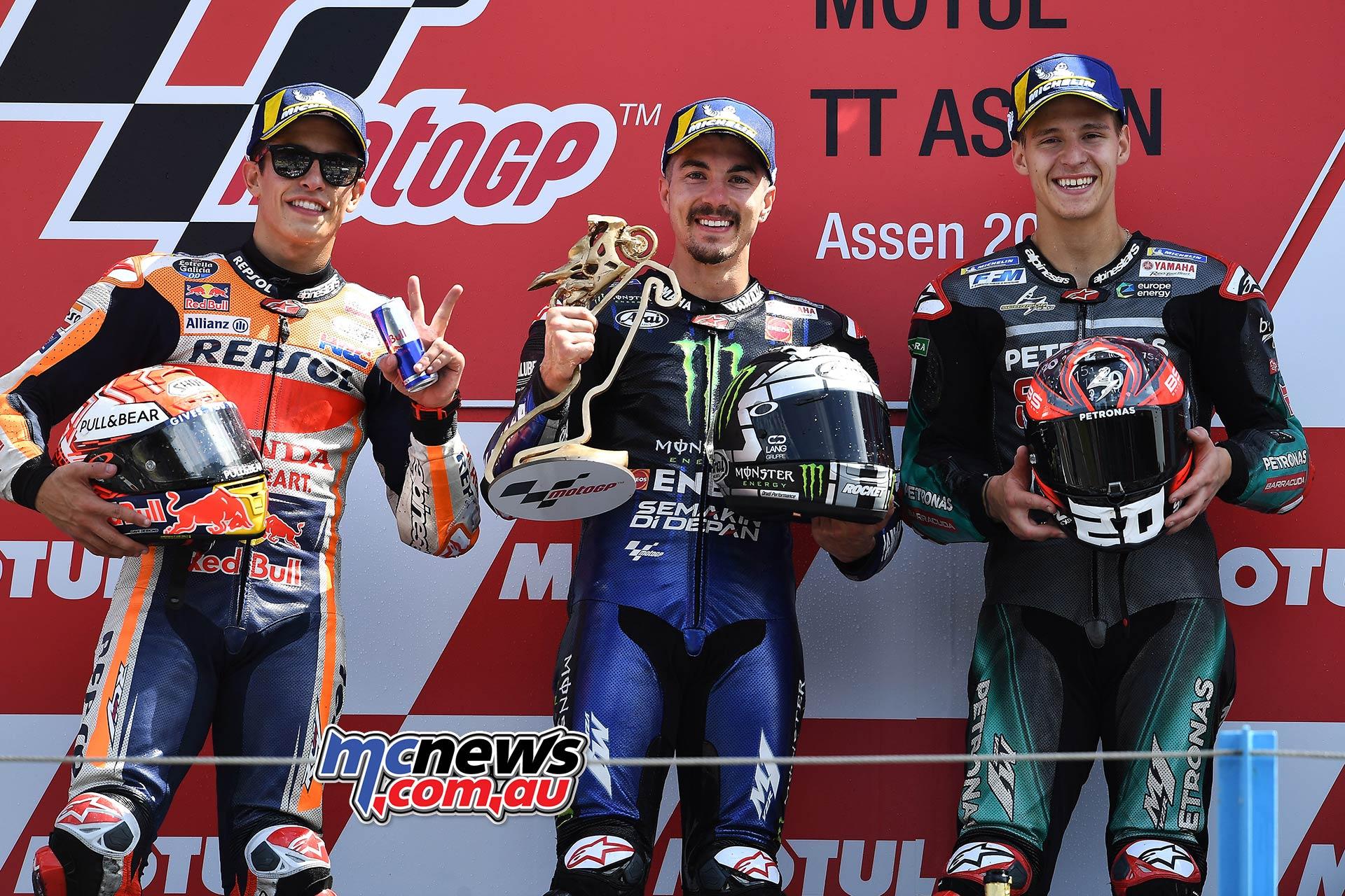 MotoGP Rnd Assen Race Podium Vinales Marquez Quartararo