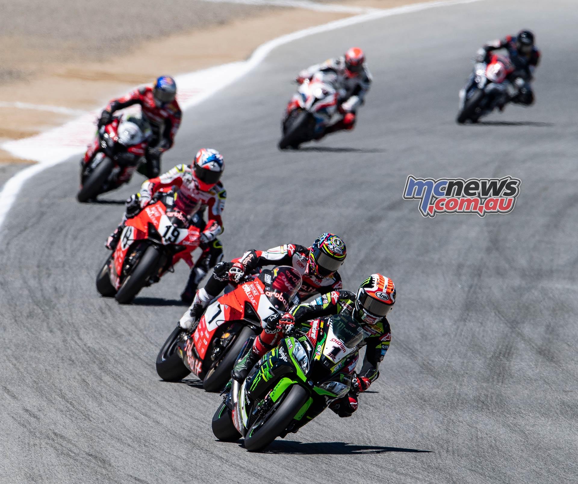 WSBK Rnd LagunaSeca Race Rea Davies Bautista