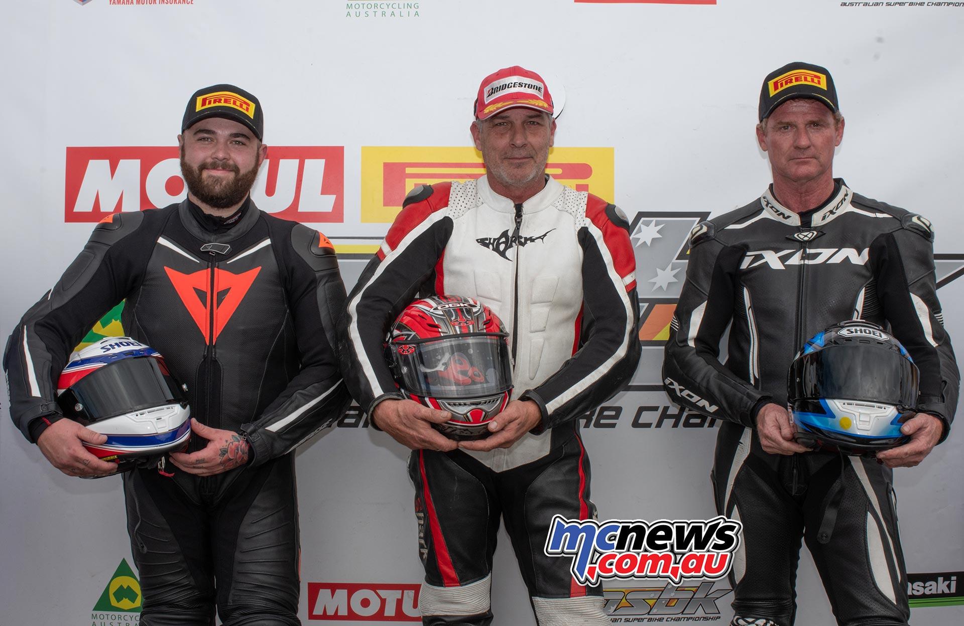ASBK Rnd Morgan Park RbMotoLens SBKM Race Podium John ALLEN Alexander PICKETT Murray CLARK