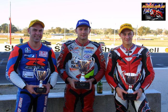 ASBK Superbike Winton Podium Stauffer Giles Brookes