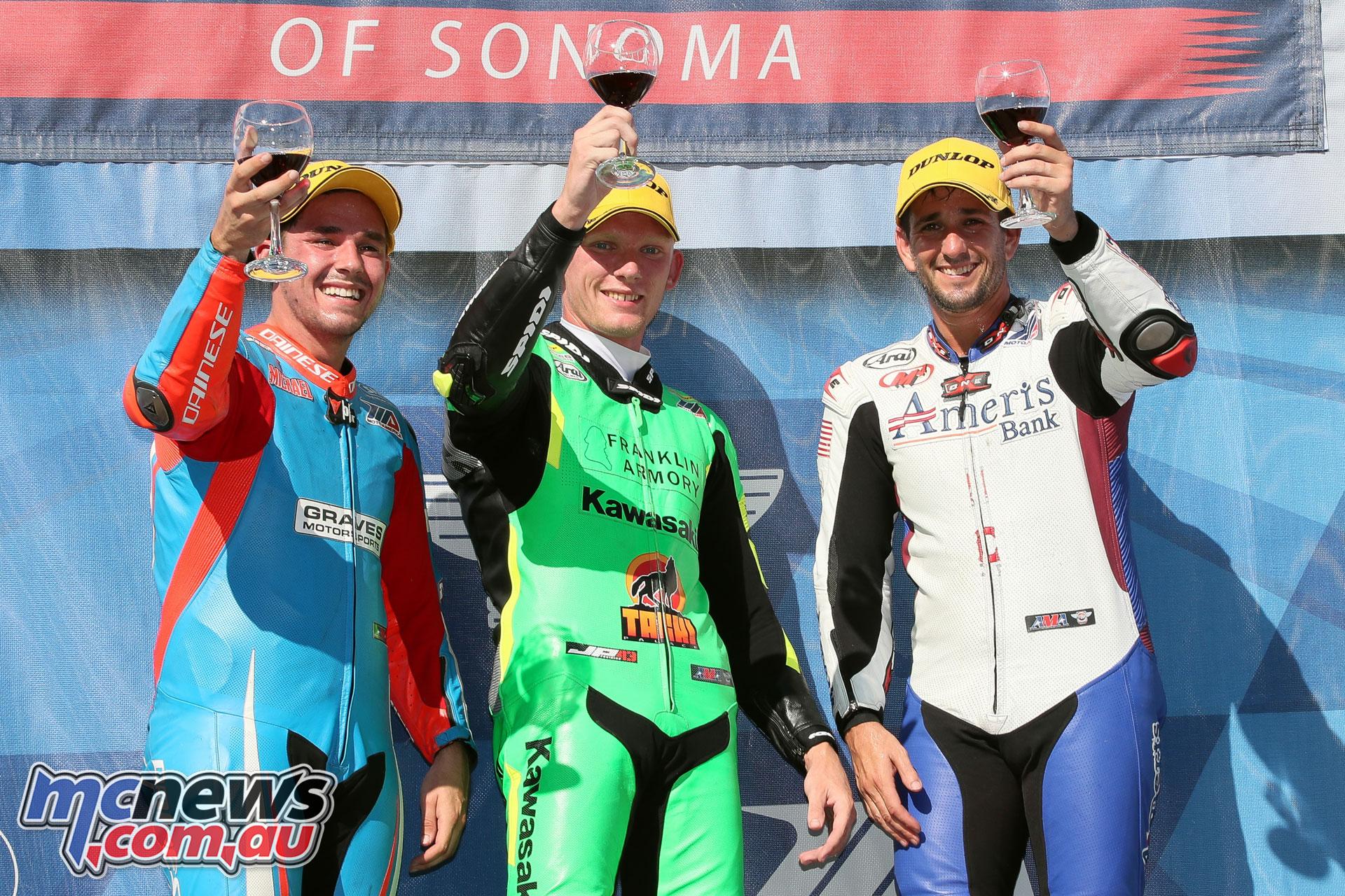 MotoAmerica Rnd Sonoma Andrew Lee podium BJN P