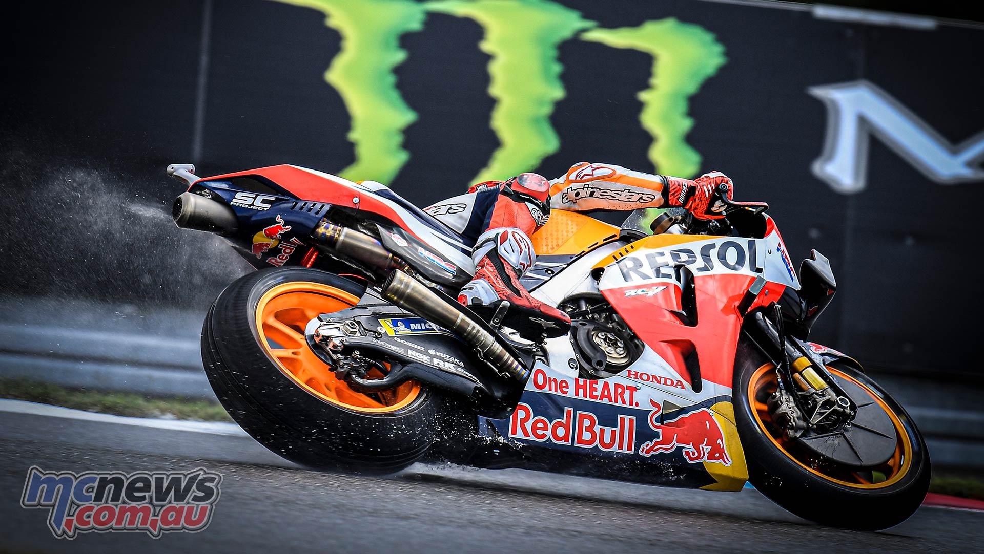 MotoGP Brno QP Marquez Wet