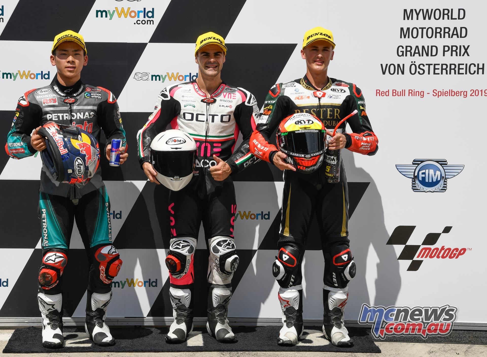MotoGP Rnd Austria QP Moto Fenati Sasaki Masia
