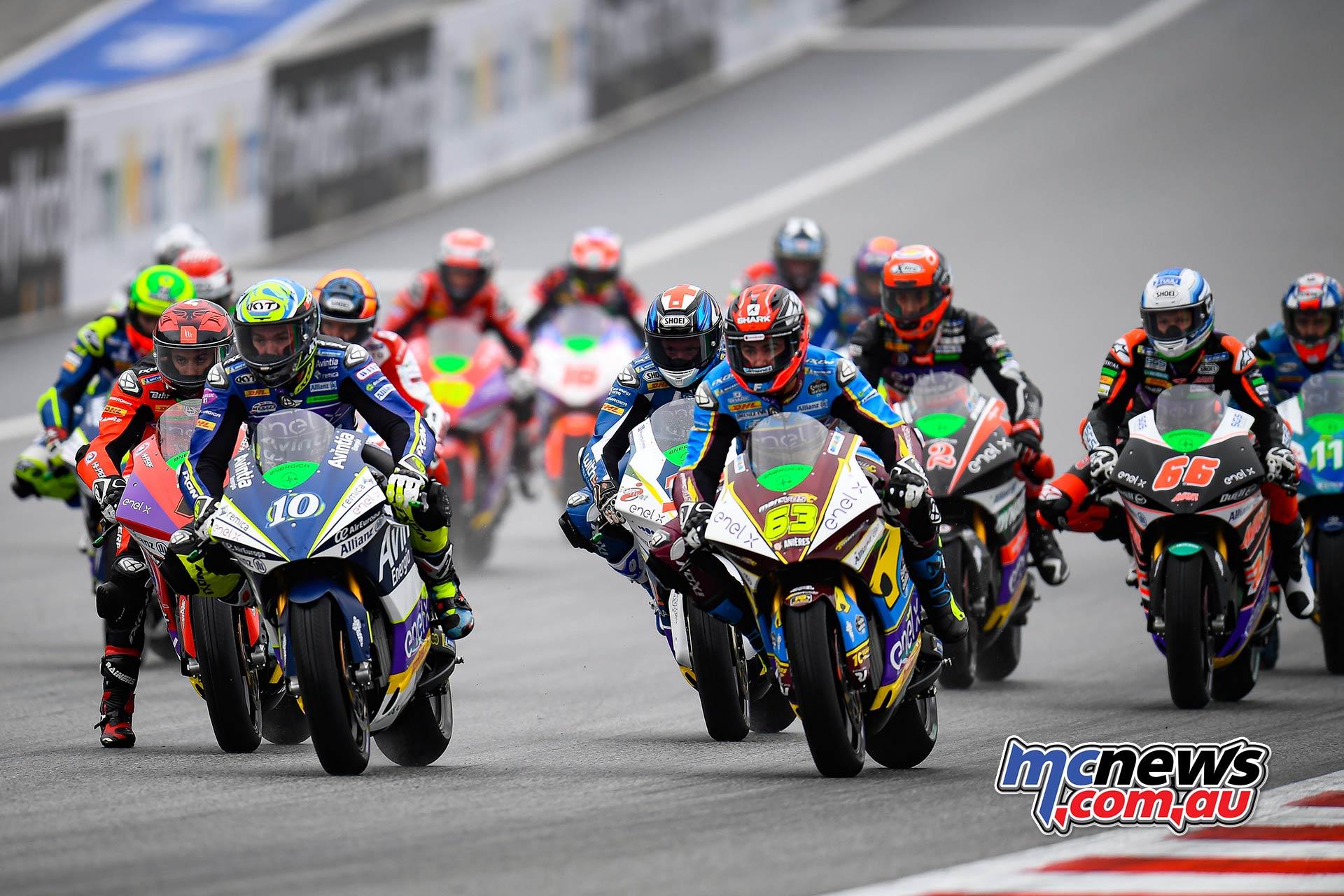 MotoGP Rnd RedBullRing Race MotoE Simeon vs Di Meglio start