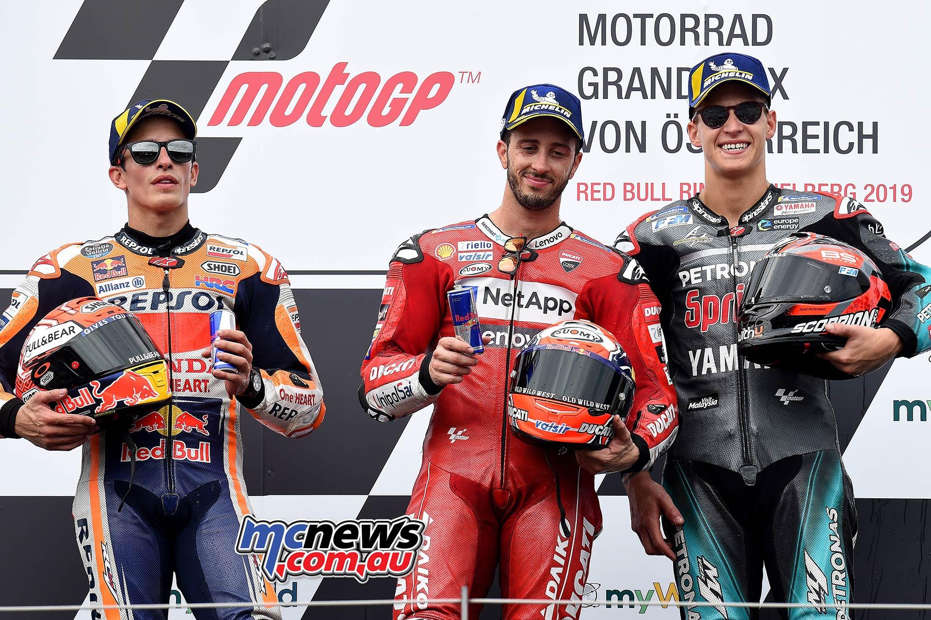 MotoGP Rnd RedBullRing Race Podium Dovizioso Marquez Quartararo