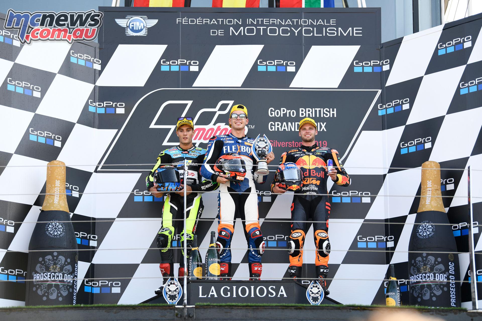 MotoGP Rnd Silverstone Moto Podium Navarro Fernandez Binder