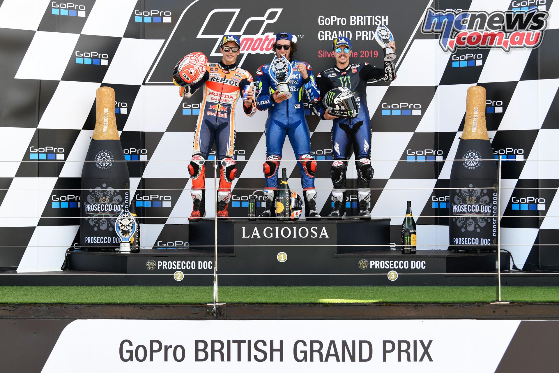 MotoGP Rnd Silverstone Podium Marquez Rins Viñales