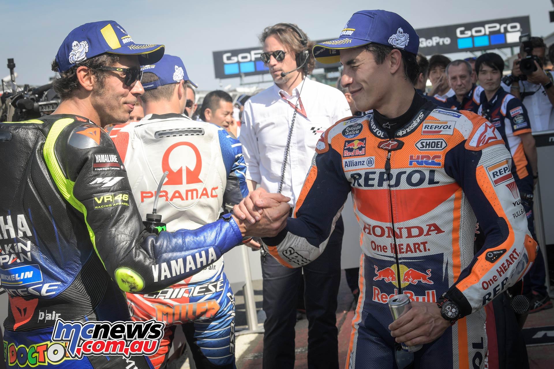 MotoGP Rnd Silverstone QP Rossi Marquez