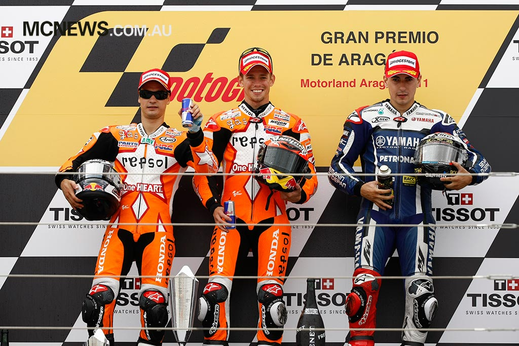 MotoGP Aragon Podium Stoner Pedrosa Lorenzo
