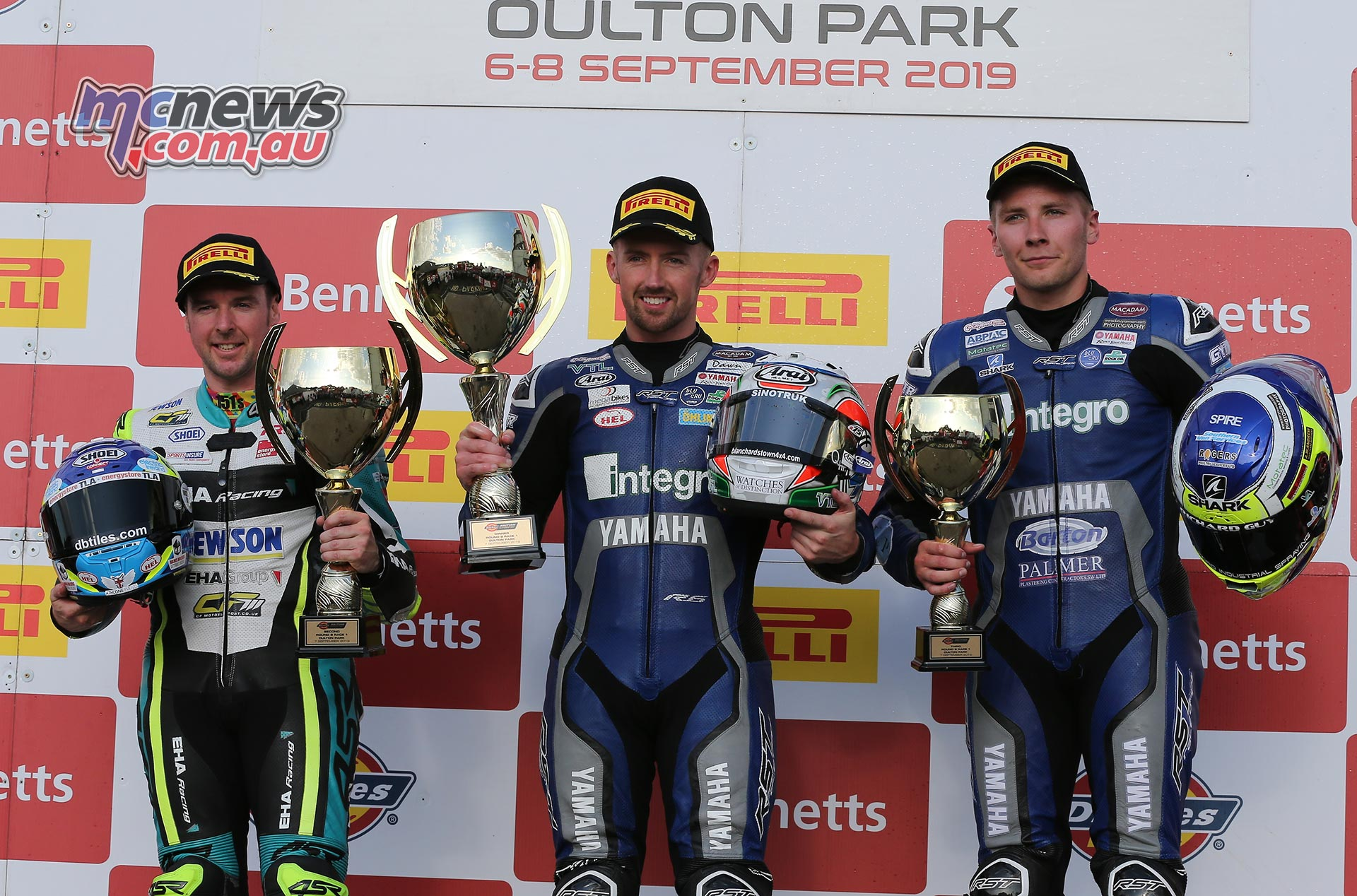 BSB Rnd OultonPark Saturday Supersport Podium Kennedy Seely Ryde
