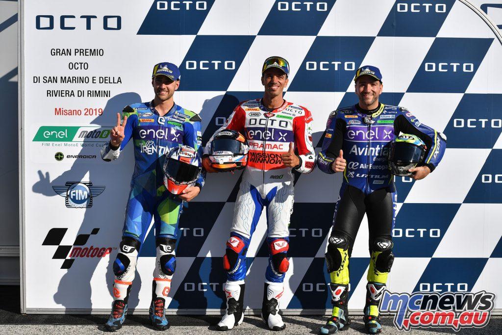 MotoGP Rnd Misano Fri MotoE front row Ferrari De Angelis Simeon