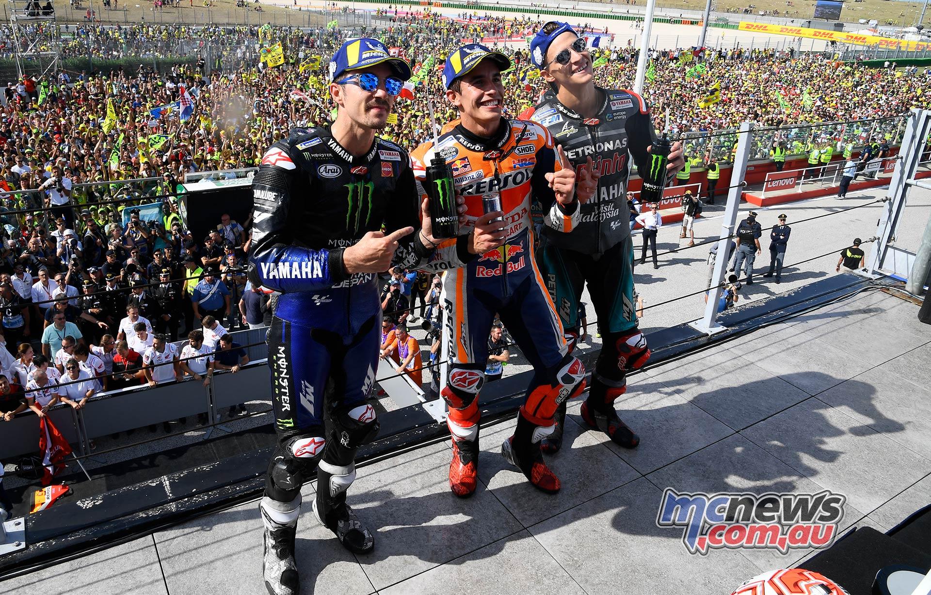 MotoGP Rnd Misano Podium Fans Marquez Quartararo Vinales