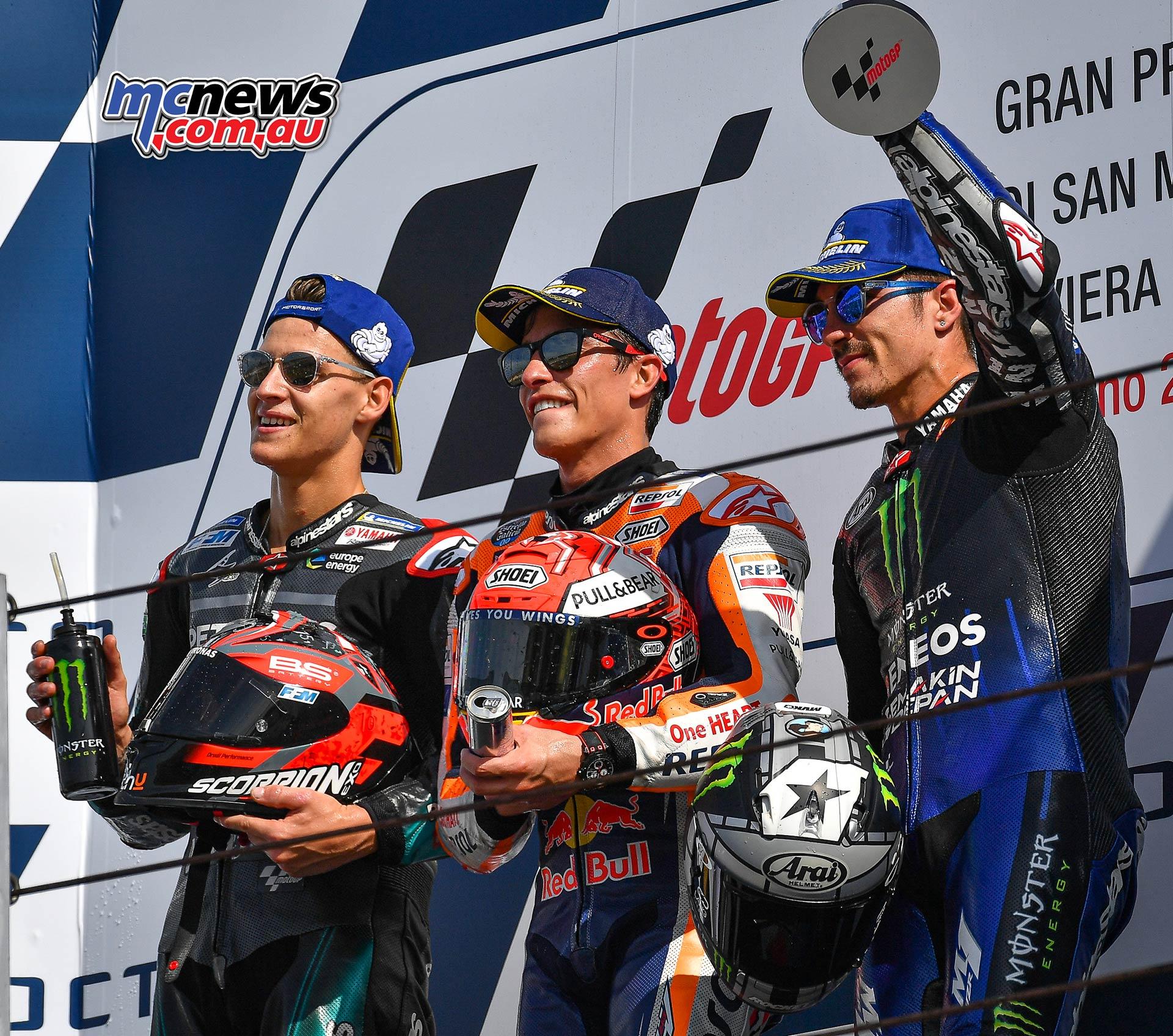 MotoGP Rnd Misano Podium Marquez Quartararo Vinales
