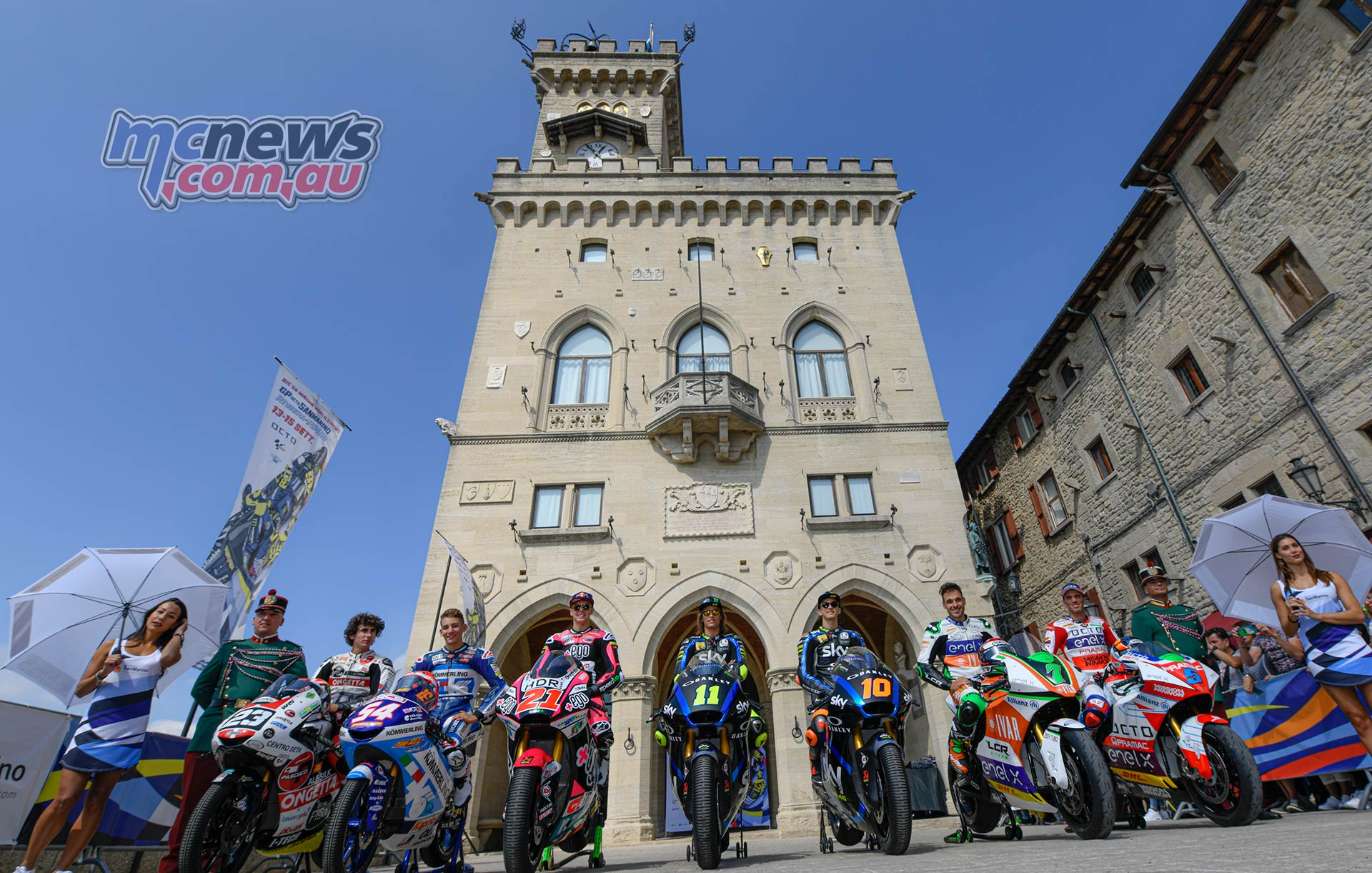 MotoGP Rnd Misano Presser L R Antonelli Rossi Di Giannantonio Bulega Marini Canepa De Angelis in the Piazza della Liberta San Marino