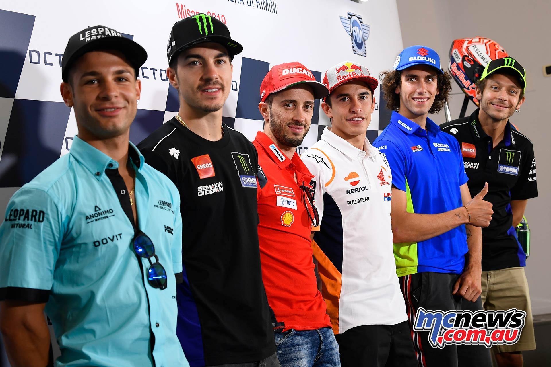 MotoGP Rnd Misano Presser Riders Dalla Porta Vinales Dovizioso Marquez Rins Rossi