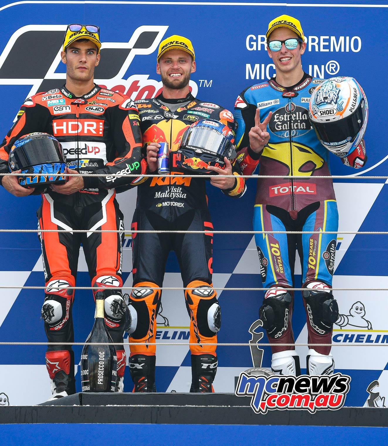 MotoGP Rnd Aragon Moto Podium Podium L R Navarro Binder Marquez