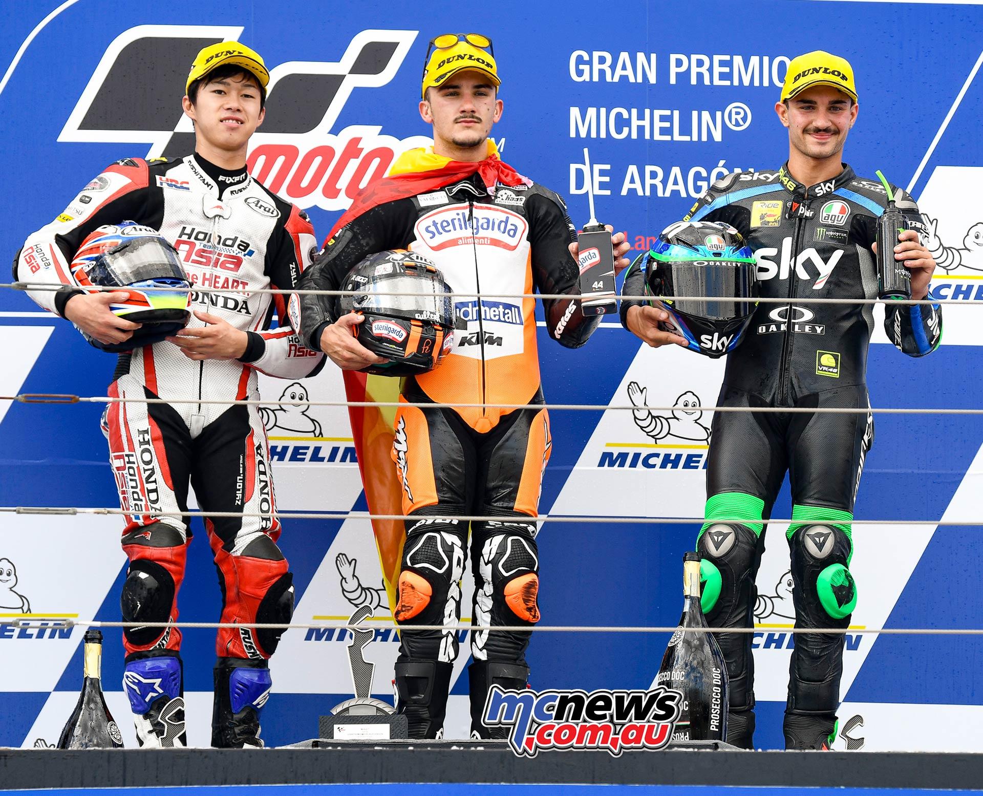 MotoGP Rnd Aragon Moto Podium Podium L R Ogura Canet Foggia