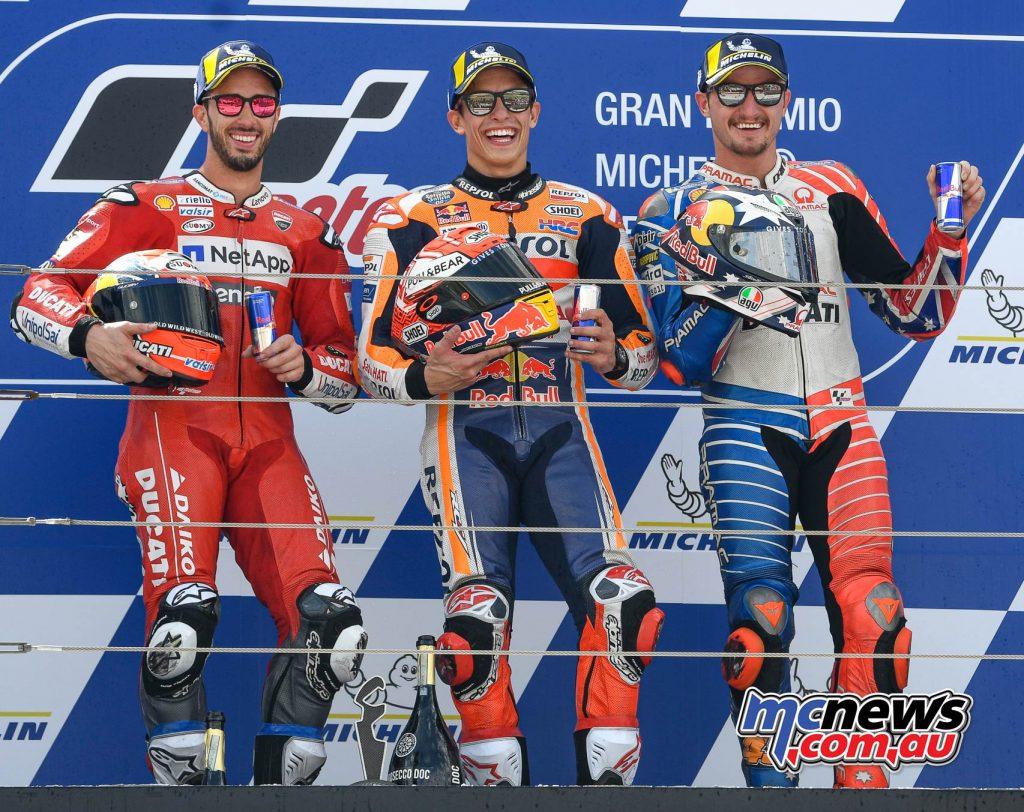 MotoGP Rnd Aragon MotoGP Podium L R Dovizioso Marquez Miller