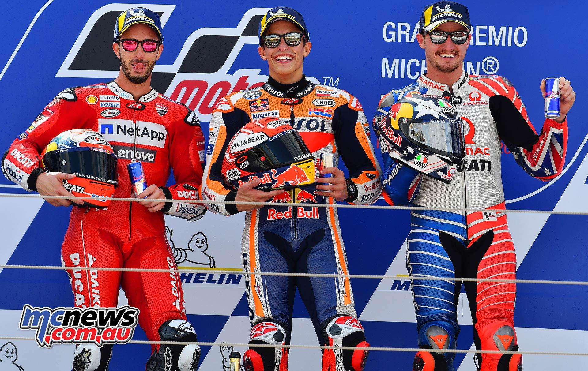 MotoGP Rnd Aragon Podium Marquez Dovi Miller