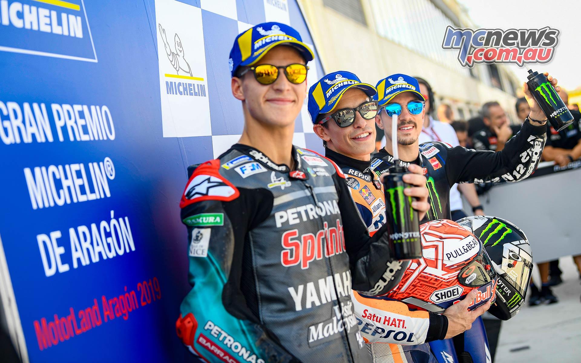 MotoGP Rnd Aragon QP Front row L R Quartararo Marquez and Viñales