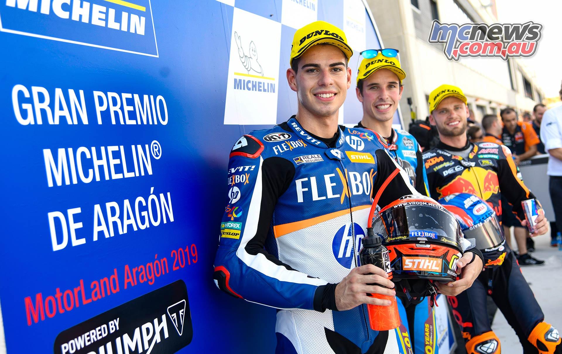 MotoGP Rnd Aragon QP Moto Front row L R Fernandez Marquez and Binder