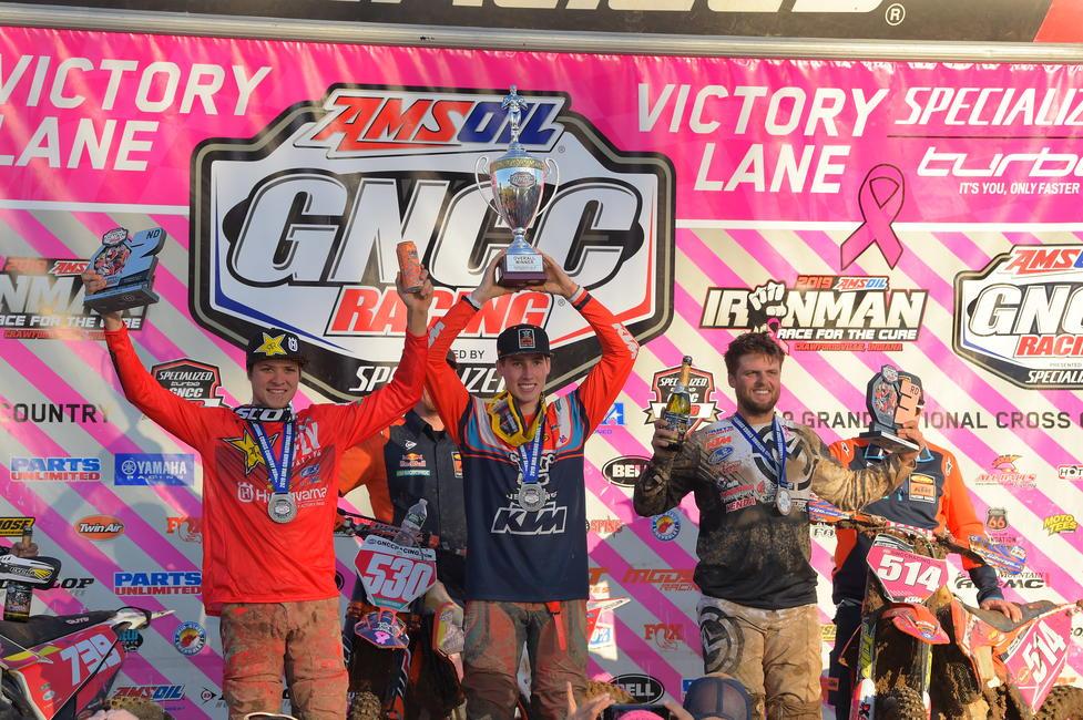 GNCC Ironman Trevor Bollinger Ben Kelley Steward Baylor Jr Podium KH